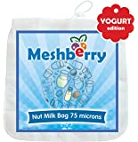 "Nut Milk Bag - Greek Yogurt & Cottage Cheese Strainer - Fine Mesh Nylon Cheesecloth - Reusable & Durable 12""X12"" 75 Microns"