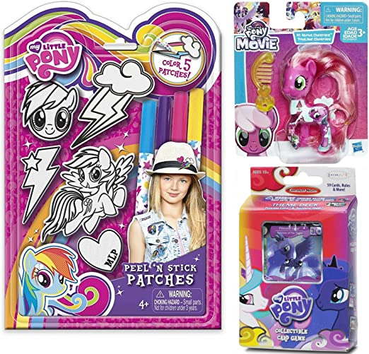 Amazon.es: My Little Pony Movie Figure All About Cheerilee Collection Pack & My Little Pony Juego de Cartas coleccionables + My Little Pony Peel N Stick Power Coloring Patch Kit: Juguetes y