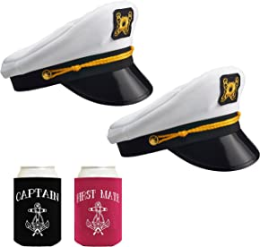 NJ Novelty Yacht Captain Hat Costume Accessories 4 Piece Set, Nautical Sailor Party Bundle