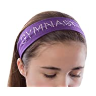 GYMNAST Rhinestone Cotton Stretch Gymnastics Headband for Girls, Teens and Adults - Gifts for Gymnastics