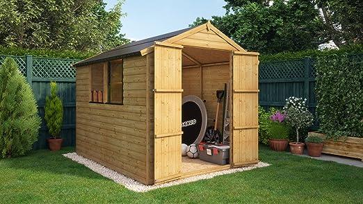 Project Timber - Cobertizo de madera para jardín de 12 mm, con ventanas y puertas dobles: Amazon.es: Jardín