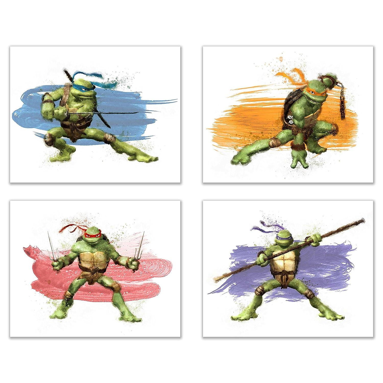 Teenage Mutant Ninja Turtles Wall Art Decor - Set of 4 Prints (8x10) - Poster Photos Watercolor - Michaelangelo, Leonardo, Raphael, Donatello