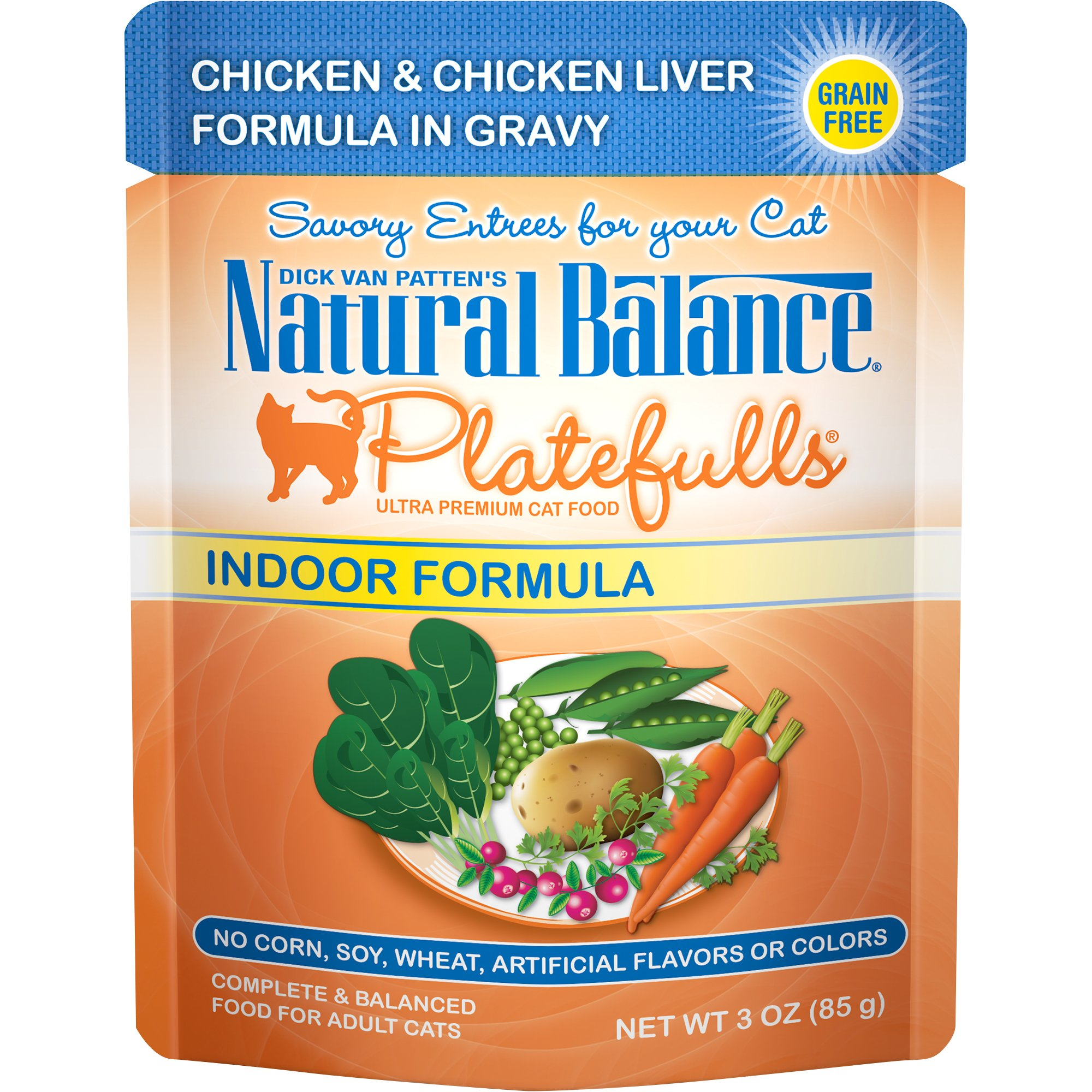 Natural Balance Platefulls Grain Free Indoor Cat Food, Indoor Chicken and Chicken Liver Formula in Gravy, 3-Ounce Pouches (Pack of 24)