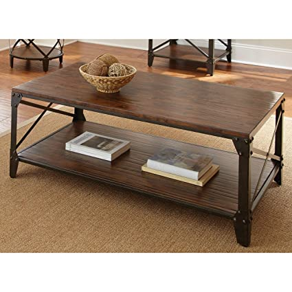 Contemporary Coffee Table.Windham Solid Birch Wood Iron Contemporary Coffee Table Rustic Industrial Style