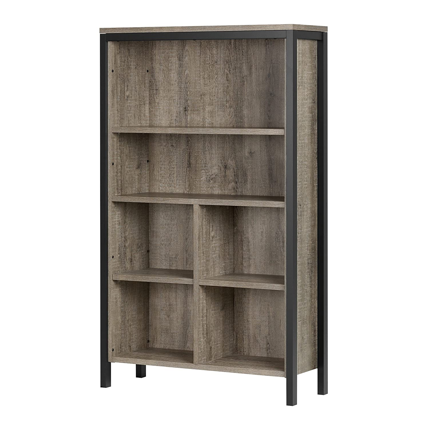 South Shore Furniture 10552 Munich 6-Shelf Bookcase with Cubes, Weathered Oak and Matte Black