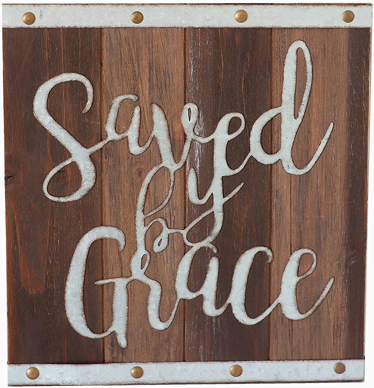 Paris Loft Saved by Grace Wood and Metal Sign, 11.8''x12.6'' Farmhouse Wall Art Sign Plaque Christian Saying Housewarming Gift Bible Decor