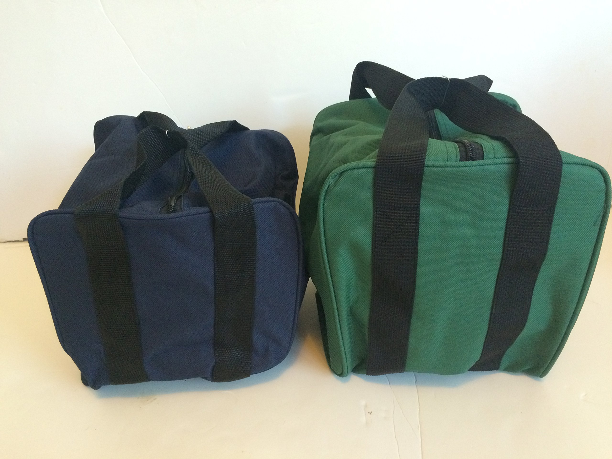 Unique Package - Pack of 2 Extra Heavy Duty Nylon Bocce Bags - Blue with Black Handles and Green with Black Handles