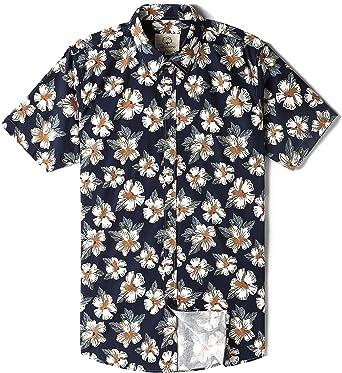Summer Mae Mocotono Camisa Hawaiana para Hombre Manga Corta Estampada Negro L: Amazon.es: Ropa y accesorios