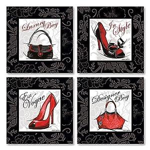 Gango Home Décor Fashion High-Heel Designer Luxury Purse Set; Four 8x8in Poster Prints. Red/Black/White