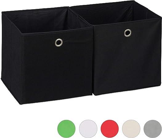 Relaxdays Aufbewahrungsbox 2er Set Quadratisch Aufbewahrung Fur Regal Stoffbox In Wurfelform 30x30x30 Cm Schwarz Amazon De Kuche Haushalt