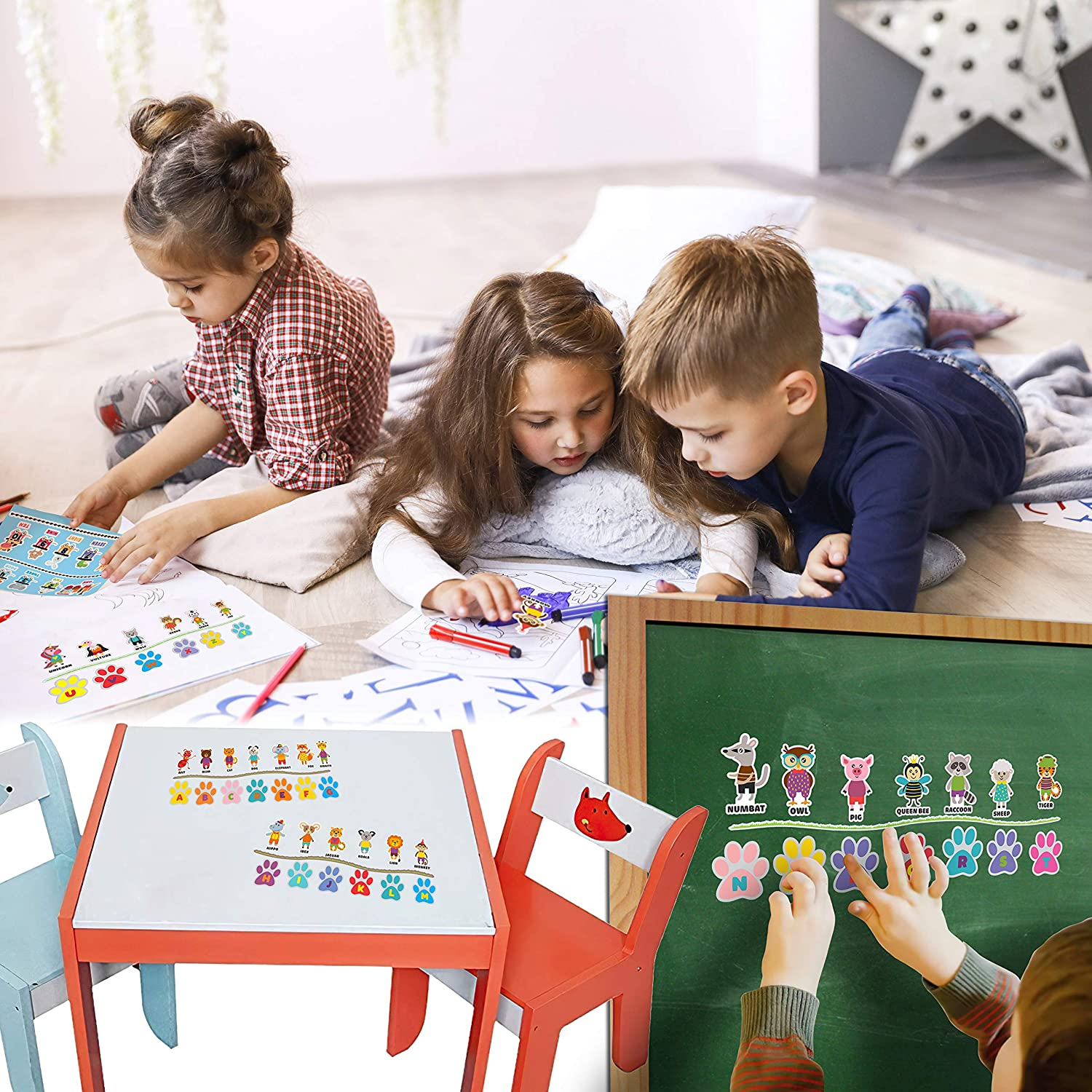 ABC Stickers for Kids Learning in Classroom Alphabet Letter for Kids Kindergarten HK STUDIO Cute Animal Alphabet Stickers Matching ABC Learning For Preschool Toddlers Educational Animal Stickers
