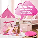 WeePlay 4 Piece Castle Play Princess Tent | BONUS! Includes Princess Tiara and Earrings | Conveniently folds into FREE Carrying Case | Indoor & Outdoor Use | Glow in the Dark Stars