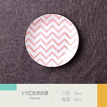Vajilla cerámica creativa japonesa retro grueso porcelana salsas postres 6 pulgadas rojo corrugado cocina 1