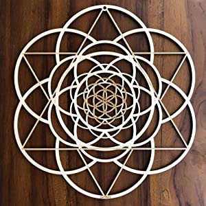 "ZenVizion 13.5"" Seed of Life Wall Art, Fibonacci Sacred Geometry Wall Art, Wooden Wall Art Decor, Yoga Wall Art Hanging, Laser Cut Artwork, Wall Sculpture Symbol, Gift purpose"
