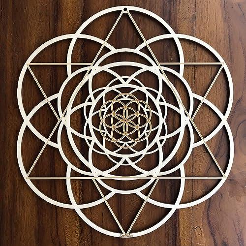 ZenVizion 13.5 Seed of Life Wall Art, Fibonacci Sacred Geometry Wall Art, Wooden Wall Art Decor, Yoga Wall Art Hanging, Laser Cut Artwork, Wall Sculpture Symbol, Gift purpose