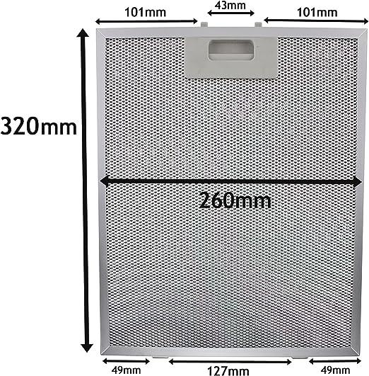 Spares2go Malla Metálica Filtro para Cooke & Lewis/B & Q/cata campana extractor ventilación (plata, 320 x 260 mm): Amazon.es: Hogar
