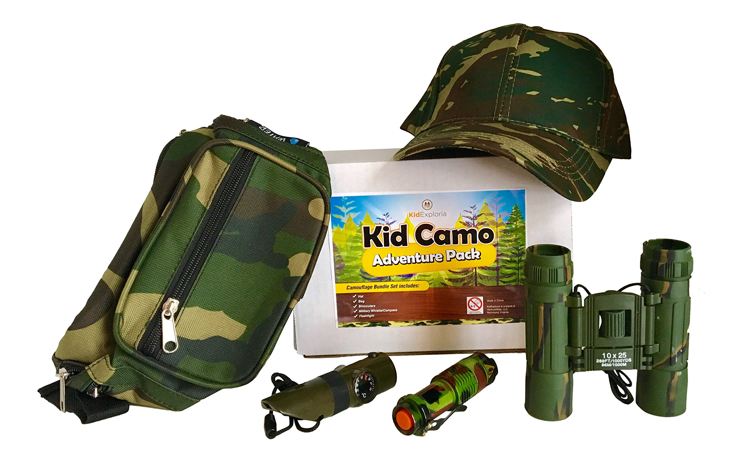 Kid Camo Hat and Survival Gear Kit for Boys: Army Compact Camouflage Binoculars, Cap, Bag, Compass Whistle 7 in 1 & Military Mini Flashlight by KidExploria