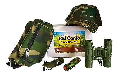 e2d66d639e0 Amazon.com  Kid Camo Hat and Survival Gear Kit for Boys  Army ...