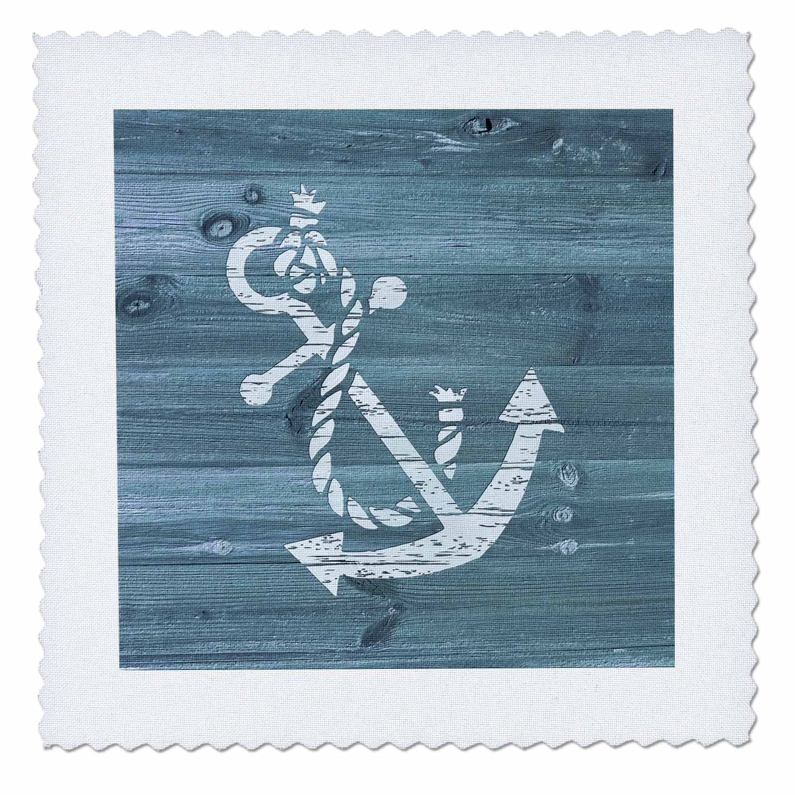 3dRose Russ Billington Nautical Designs - Distressed White Painted Anchor on Blue Wood Effect- Not Real Wood - 22x22 inch quilt square (qs_261814_9)