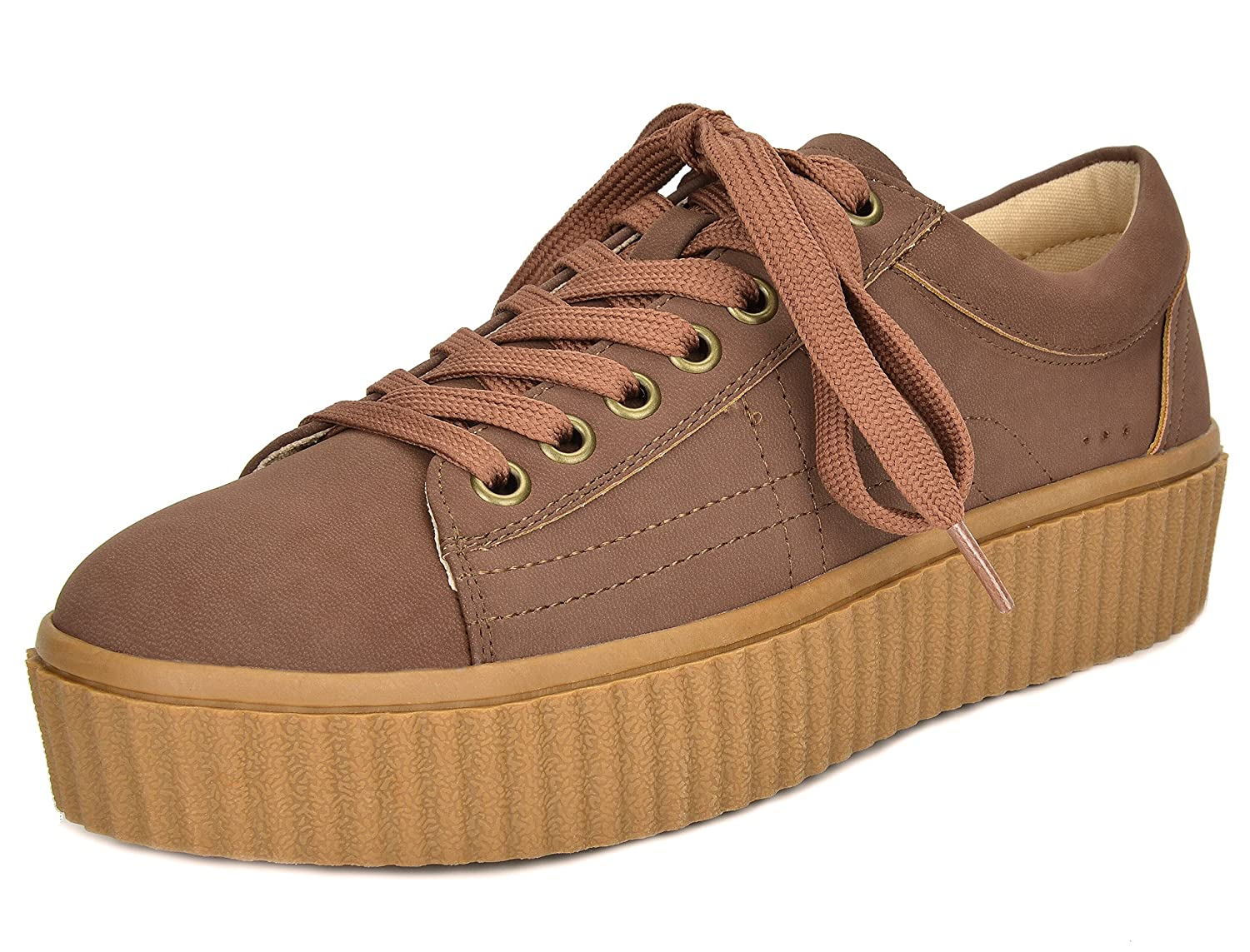 TOETOS Women's REINNA-01 Lace up Platform Sneakers Shoes B01N5IQO4U 9 B(M) US|Tan
