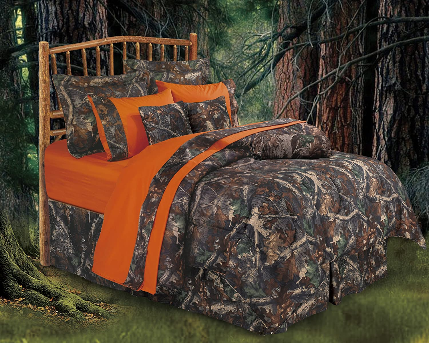 orange camo bed set