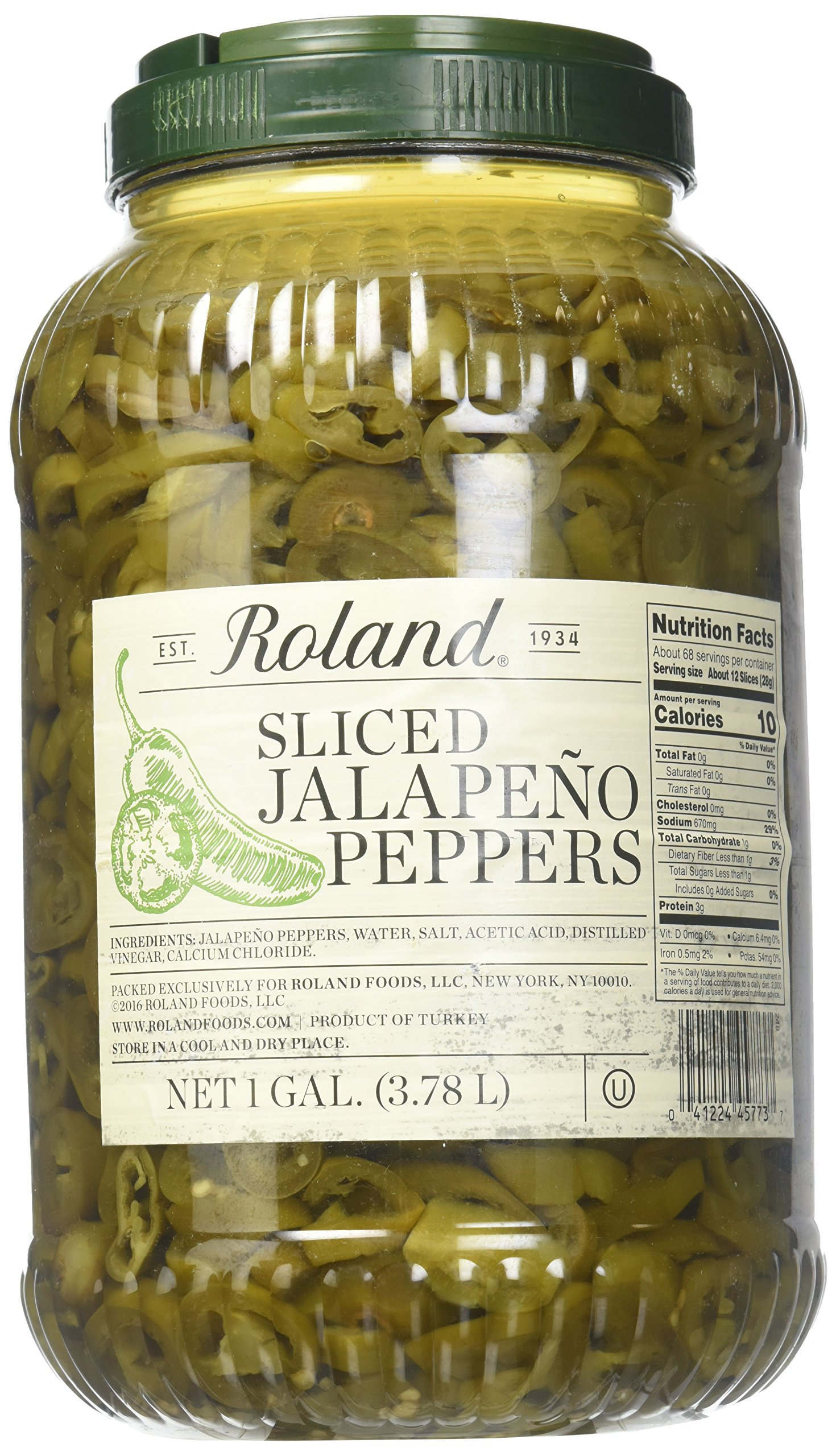 Roland Foods Sliced Jalapeno Peppers in Brine, 128 Fluid Ounce (Pack of 4)
