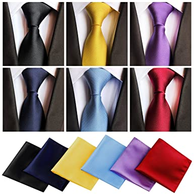 a8bc0a05 6 Pcs Ties for Men Men' s Tie and Pocket Square and Pocket Square holder set