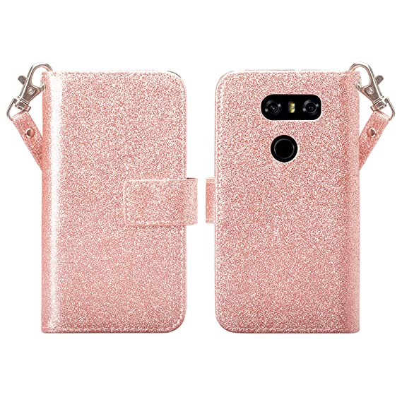 huge selection of 13df4 2bef3 Amazon.com: LG V30 Case, LG V30 Wallet Case, Glitter Faux Leather ...