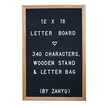 amazoncom black felt letter board large 12 x 18 inch wood frame with 340 peg characters canvas letter bag and wood stand letterboard office products