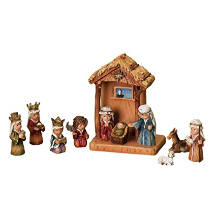 WoodWorks 11 Piece Nativity Set Featuring Children As The Holy Family An Angel A