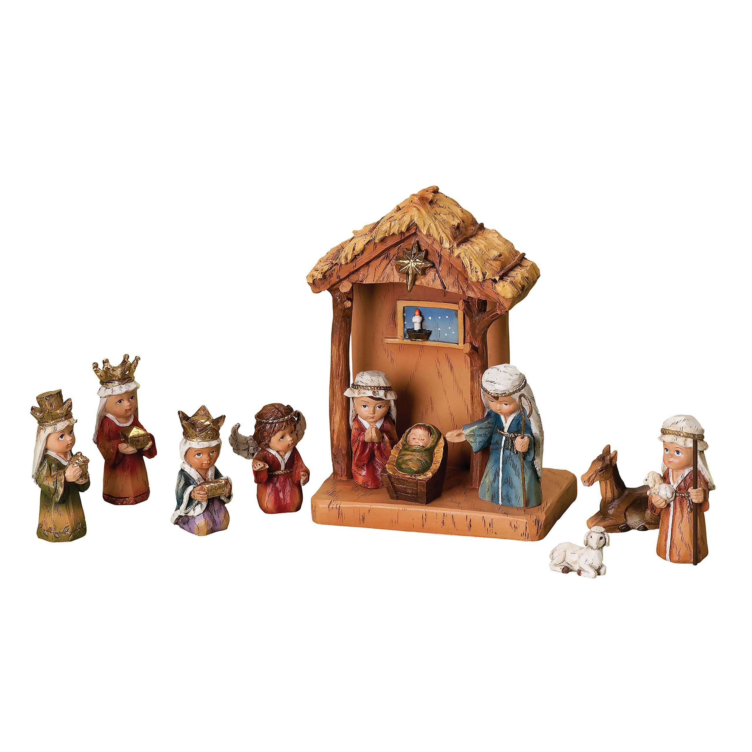 Wood Works 11-Piece Nativity Set Featuring Children as The Holy Family an Angel, a Shepherd with Sheep and 3 Kings, 8-Inch (36144)