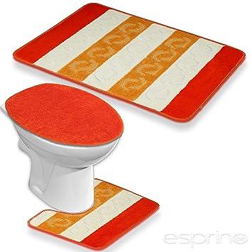 Ensemble salle de bain 3 pièces Tapis de bain Orange Kit salle de ...