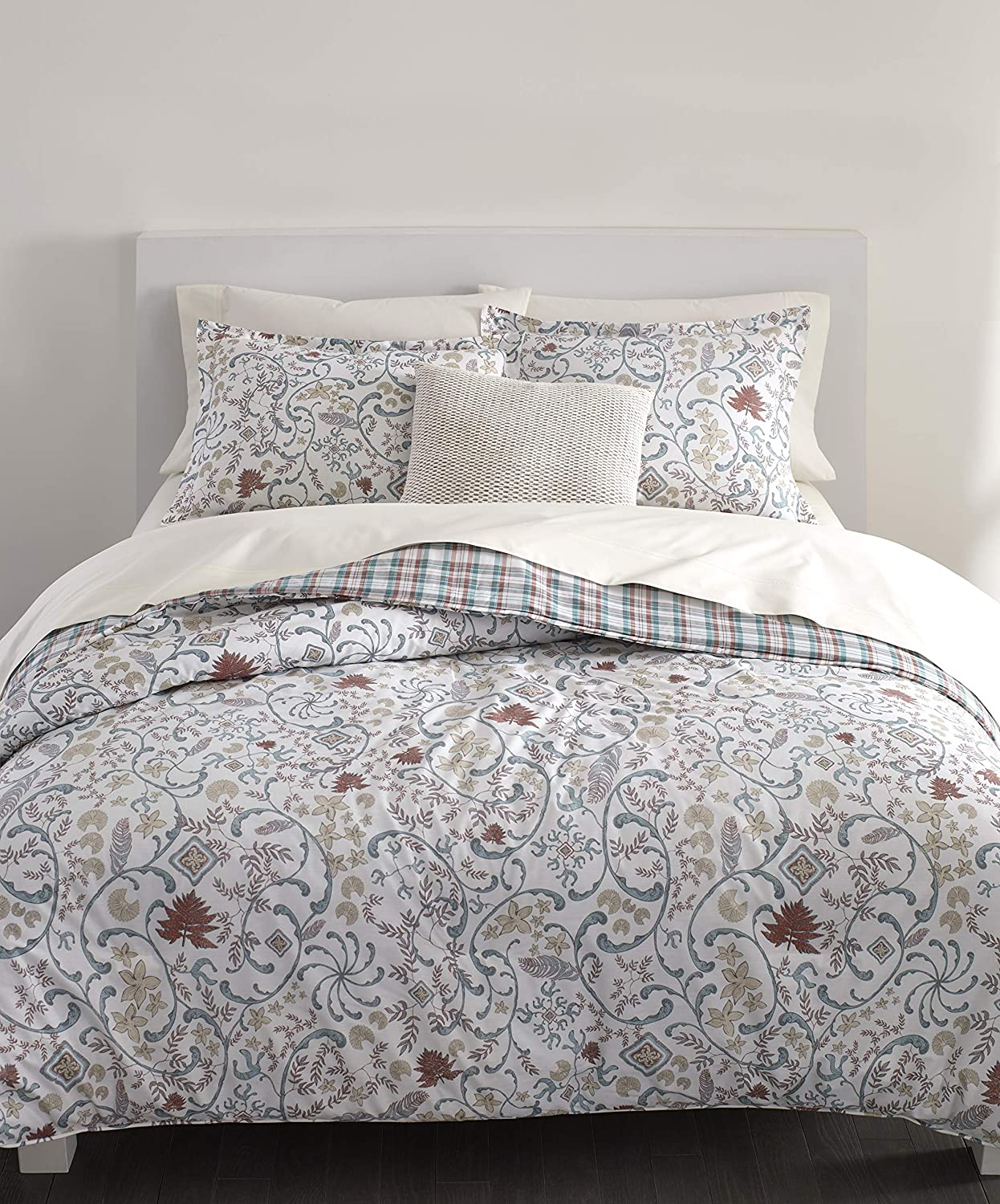 Chaps Home MCKINLEY 100% Cotton Printed 3-Piece Reversible, Highly Breathable Comforter Set, Full/Queen, RED Multi