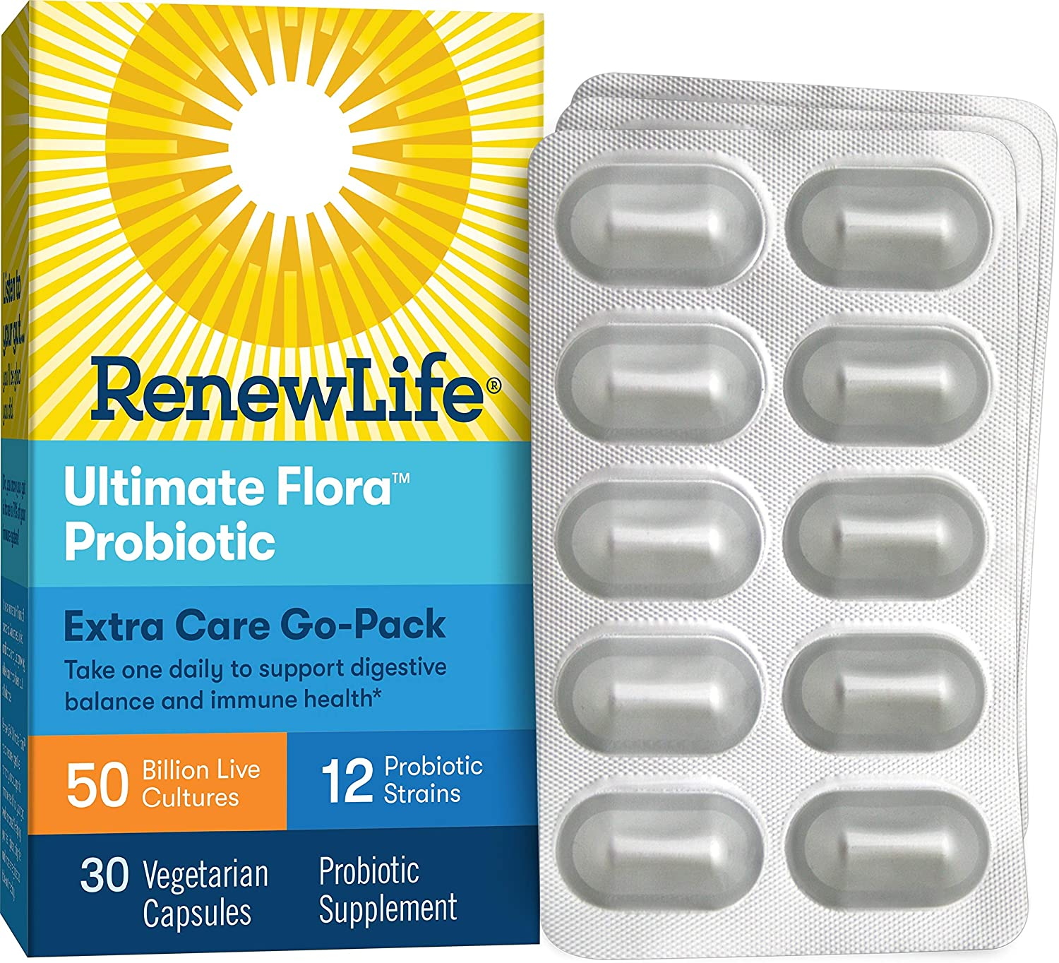 Renew Life Adult Probiotic - Ultimate Flora Extra Care Go-Pack Probiotic Supplement - Gluten, Dairy & Soy Free - 50 Billion CFU - 30 Vegetarian Capsules
