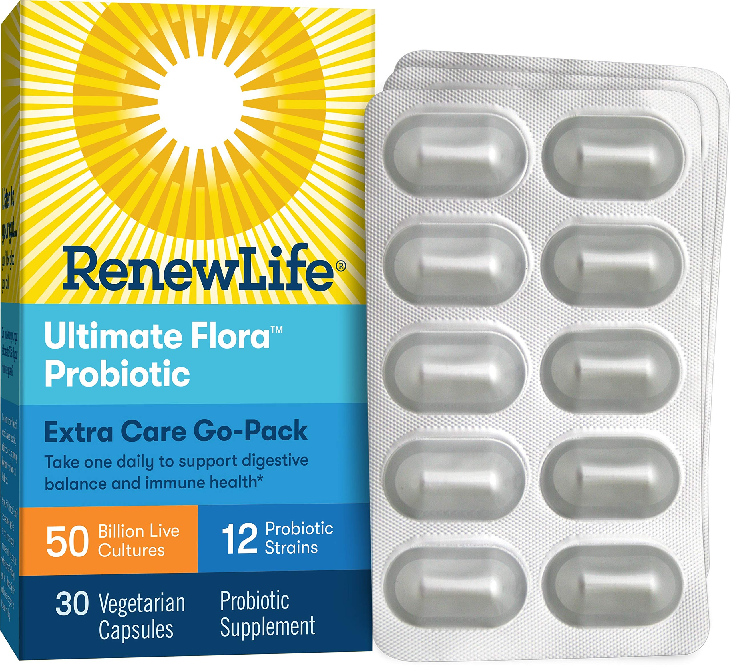 Renew Life Adult Probiotic - Ultimate Flora Extra Care Go-Pack Probiotic Supplement - Gluten, Dairy & Soy Free - 50 Billion CFU - 30 Vegetarian Capsules by Renew Life