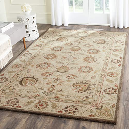 Safavieh Antiquities Collection AT812A Handmade Traditional Oriental Beige and Beige Wool Area Rug 5 x 8
