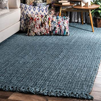 Nuloom Hand Woven Chunky Natural Jute Farmhouse Area Rug 5 X 7 6 Blue Furniture Decor