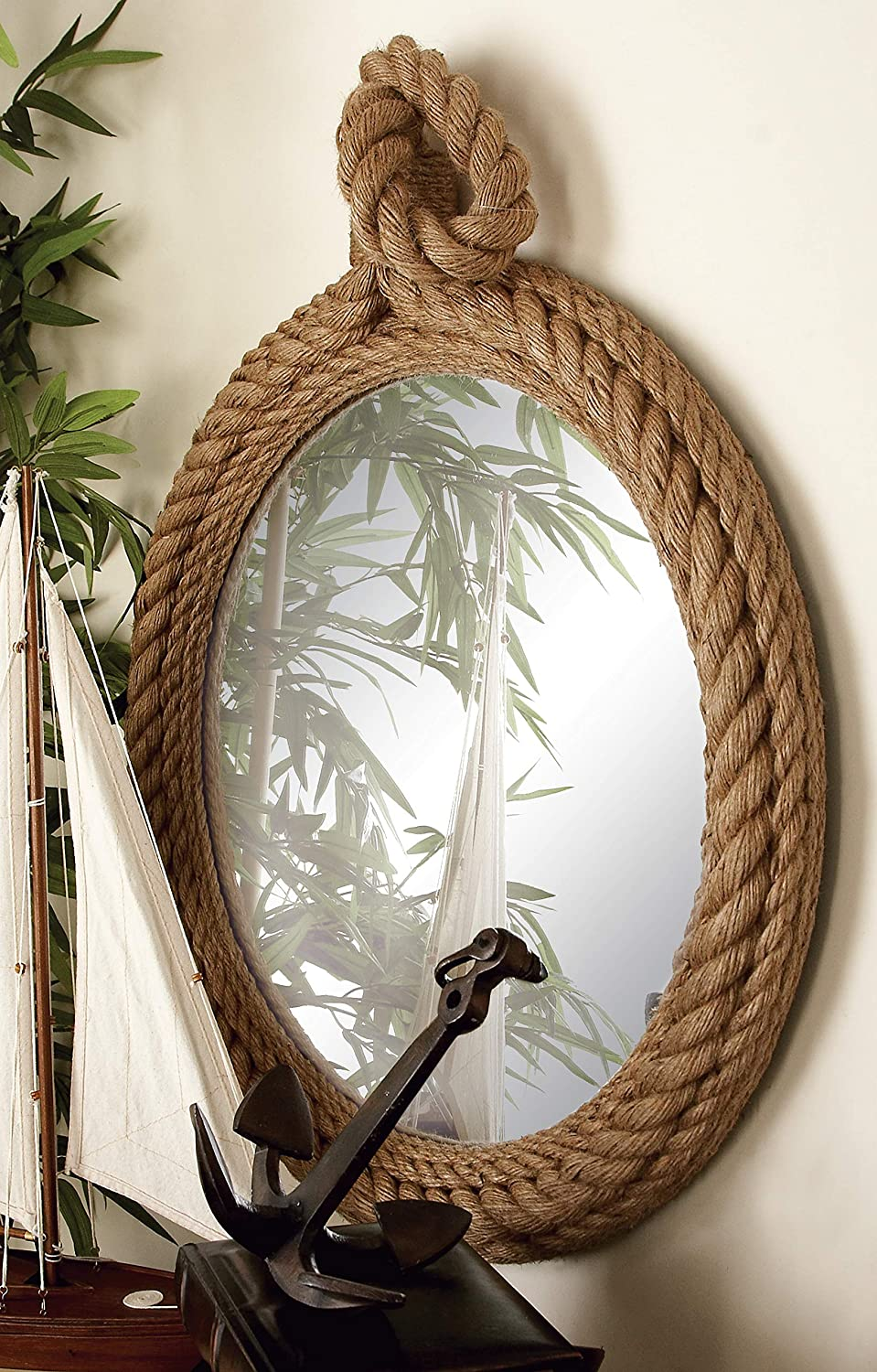 "Deco 79 68570 Wood Rope Wall Mirror, 24"" x 35"""