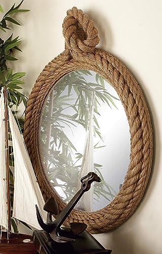 Deco 79 68570 Wood Rope Wall Mirror, 24 x 35