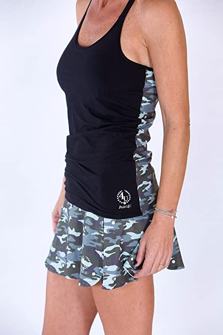 PADEL4U Falda Padel Mujer Cortes Laterales Militar/Gris ...