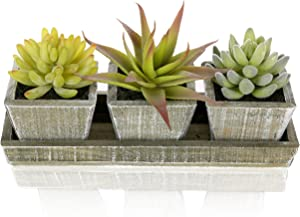 MyGift Set of 3 Life-Like Mixed Artificial Succulent Plants in Country Rustic Brown Wooden Square Pots & Display Tray