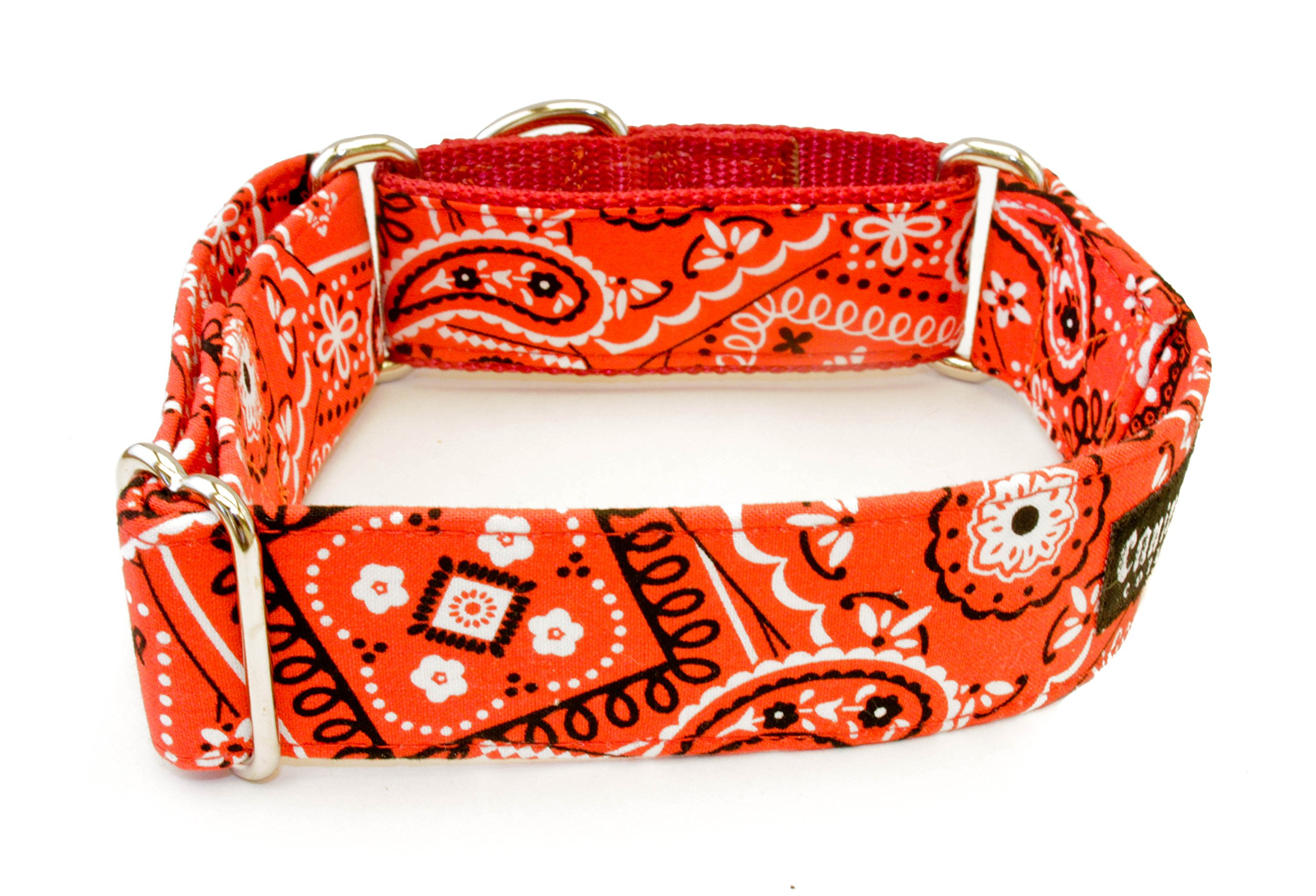 Caninus Collars Red Bandana Paisley - 5/8'' - 2'' Width Dog Collar - Buckle & Martingale (Martingale, L - 2'' Width)