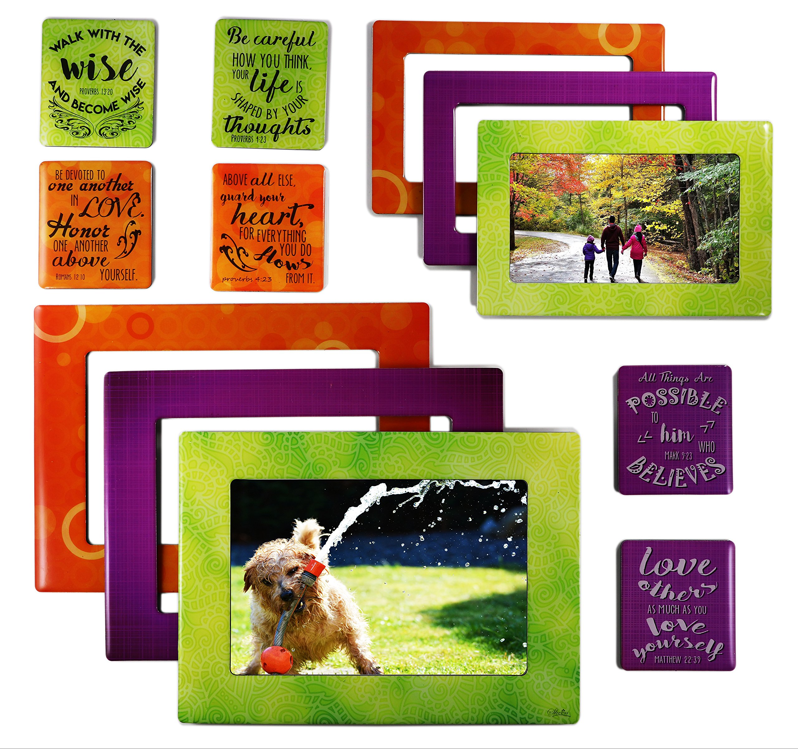 Faith 12 Piece Premium Quality Magnetic Picture Frames and Refrigerator Magnets with Inspirational Bible Quotes Photo Collage by Sheen Photo Sizes 5x7 4x6 3.5x5 2.5x3 Wallet - Use at Home or Gift by Sheen