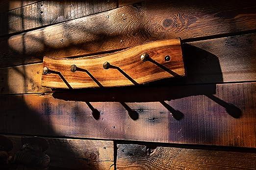 Amazon.com: 2WAYZ - Perchero de pared de madera rústica ...