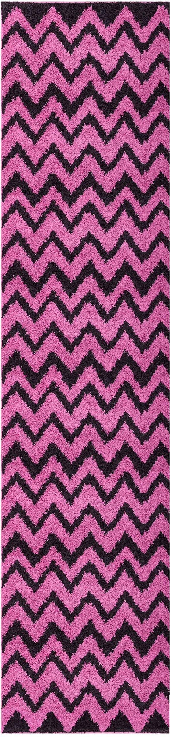 Well Woven Runner Rug Madison Shag Passion Chevron Zig Zag Fuchsia Pink Modern 20'' X 7'2'' Flokati Soft Plush Thick Rug 7057