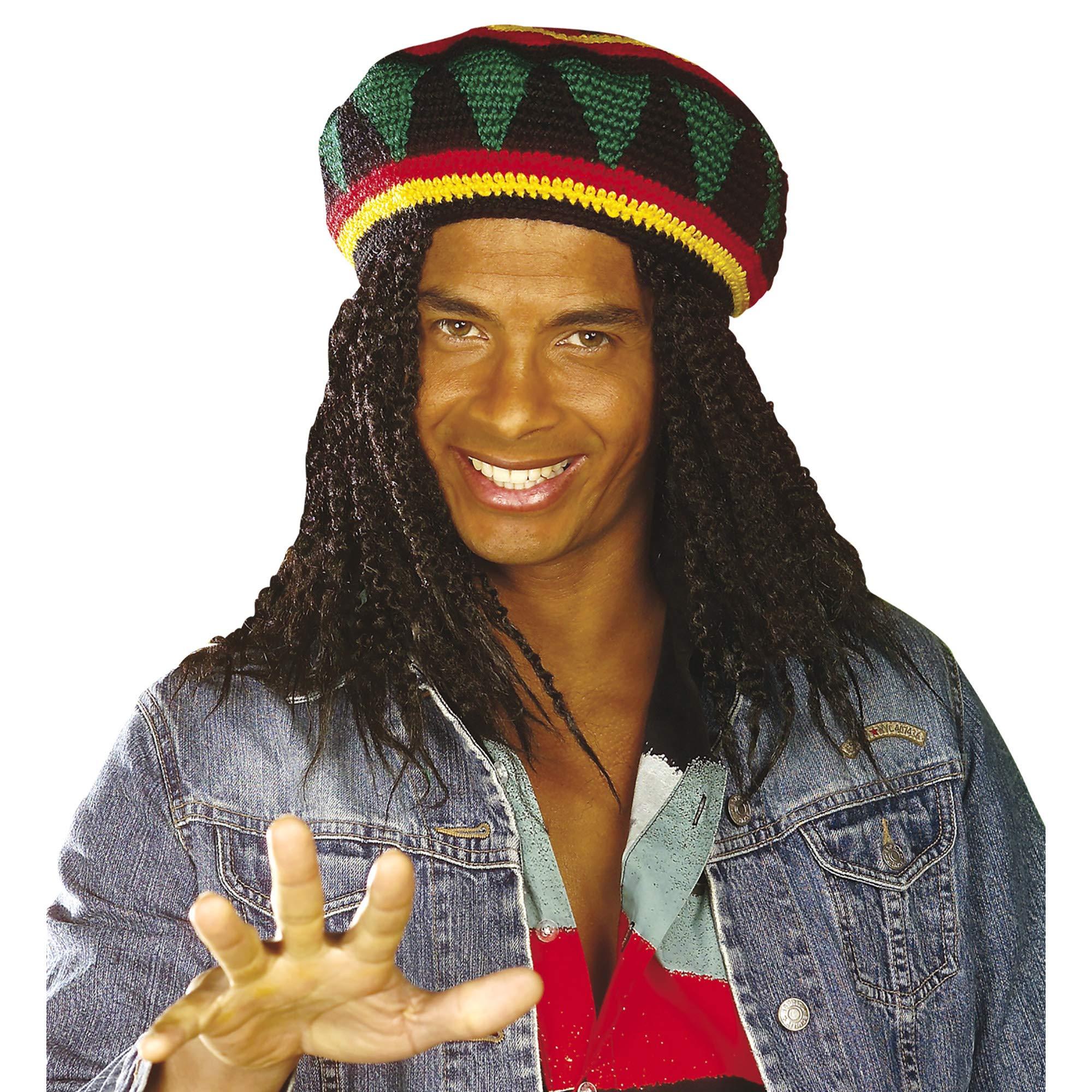 JAMAICAN REGGAE RASTA HAT WITH HAIR Mens Fancy Dress Costume Accessory