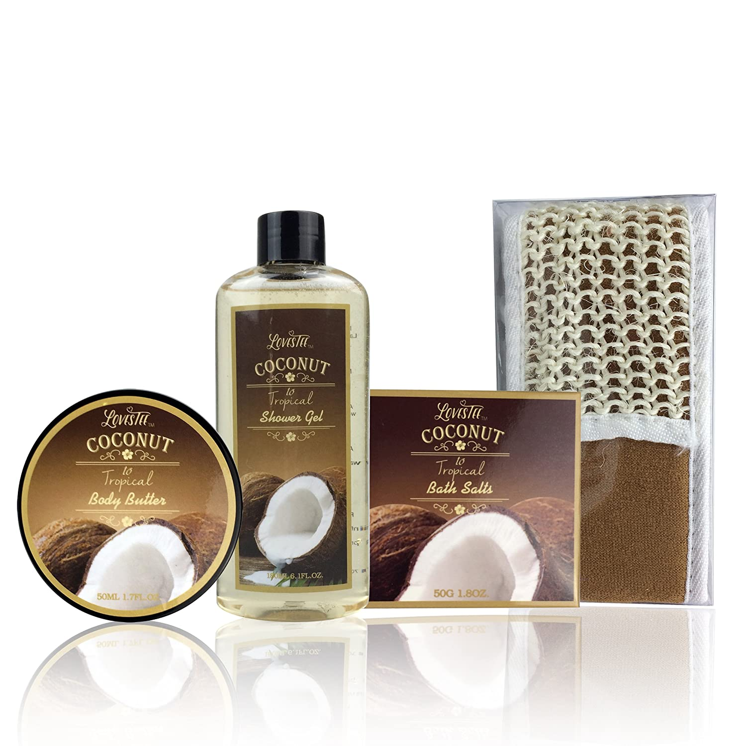Spa Gift Basket and Bath Set with Refreshing Coconut Fragrance by Lovestee - Bath and Body Gift Set Includes Shower Gel Body Lotion Body Scrub Body Butter Bath Salt and Loofah Back Scrubber : Beauty