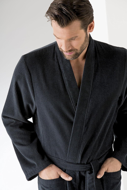 Cawö Herren-Bademantel Kimono 951 (54 56, 901 schwarz)