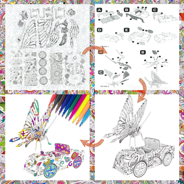 Loisirs Creatifs Ensemble De Puzzle 3d Pour Enfants Filles Garcons Jouet Ages 5 6 7 Jeu De Puzzle A Colorier Pour Enfant Kits Dartisanat Dart Pour 9 12 Ans Enfants Garcons Fourniture Dart