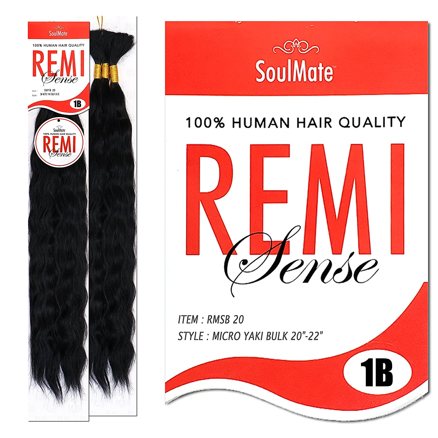 [2PACKS DEAL] SOULMATE REMI SENSE Human Hair Blend Micro Braid Wet & Wavy 20-22 - RMSB 20 (1B [Off Black]) Hair Line